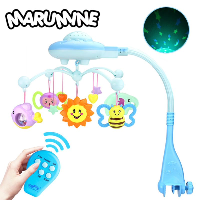 Marumine Baby Crib Mobiles Toy Holder Rotating Crib Bed Bell With 50 Music Projection Rattle For 0-12 Months Newborn Infant shiloh musical mobile baby crib cosleeper newborn kid infant bed bell toy with holder bracket and music box 60 songs teddy
