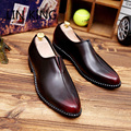 LIN KING  Quality Men Leather Shoes Brogues Slip-on Bullock Business Men Oxfords Shoes Massage Soft Walking Male Dress Shoes