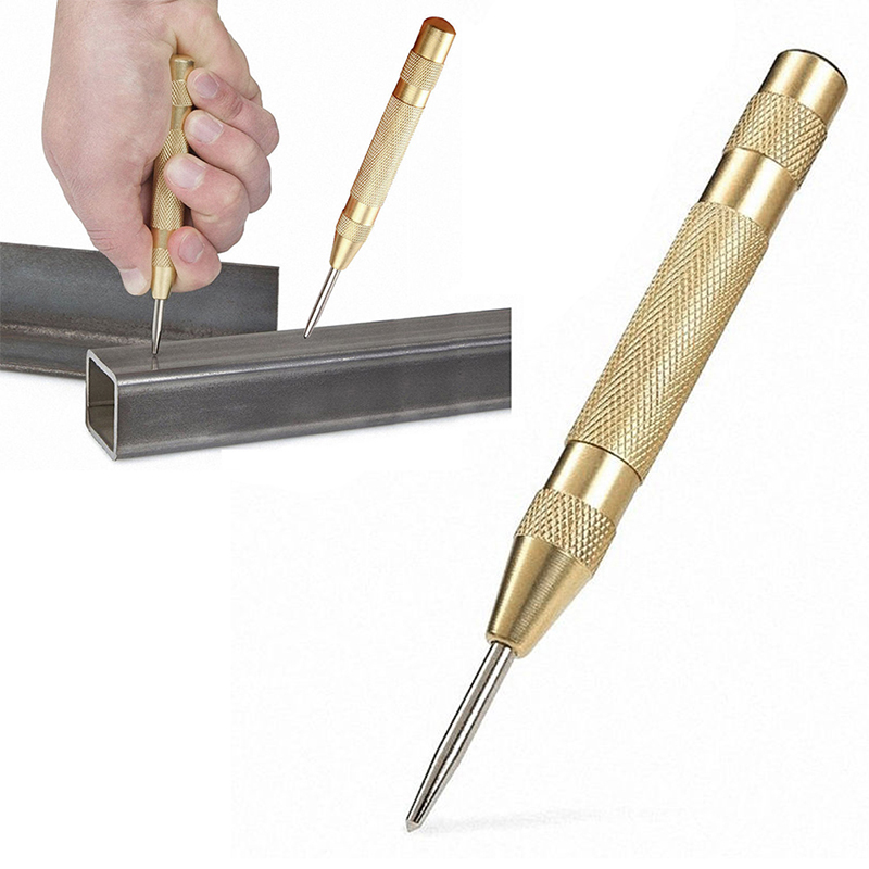 1PCS Automatic Center Pin Punch Spring Loaded Marking Starting Hole Tool Gold