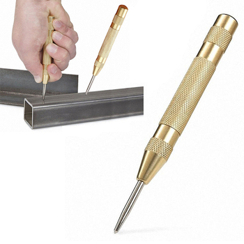 1PCS Automatic Center Pin Punch Spring Loaded Marking Starting Hole Tool Gold automatic center pin punch strike spring loaded strating marking hole tool breaker 8 jdh99