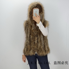 S1605 Lady New Real Raccoon fur knitted vest with hooded / Women winter warm fashion fur gilet