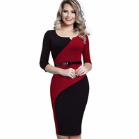 Women Casual Elegant Work Business Office Belted Colorblock Contrasting Fitted Bodycon Pencil Dress EB358