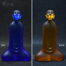 Ancient Pharaoh Glass Enlightenment Monk Decoration Tray Transparent Buddha Carved Car Decorati