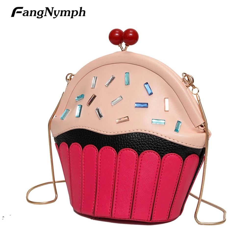 Fangnymph 2018 новых малых кекс торт Форма Для женщин Сумки на плечо женский мультфильм милый искусственная кожа сумка клатч сумочка