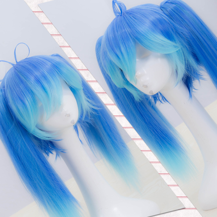 Kagerou Project Enomoto Takane Cosplay Wig Blue Straight Ponytails Gradient Color Synthetic Hair Adult Role Play