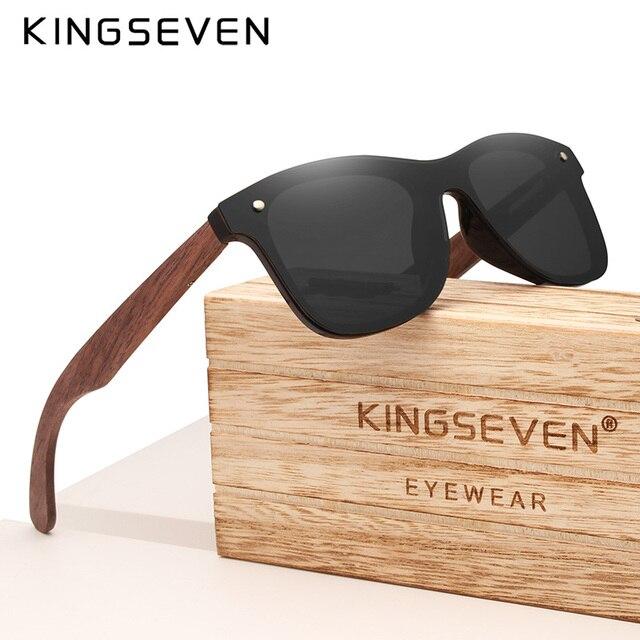 KINGSEVEN 2019 اليدوية الاستقطاب الجوز نظارة شمسية خشبية موضة الرجال النساء العلامة التجارية تصميم نظارات شمسية ملونة مرآة ظلال