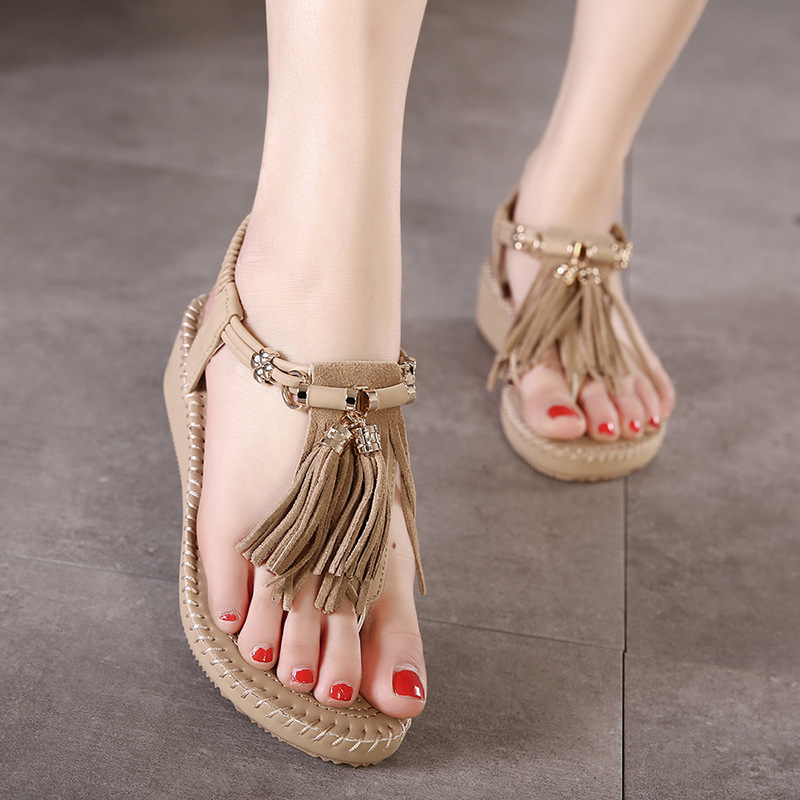 Summer Women Sandals Gladiator tassel sweet flat comfortable Beach Sandal Flip Flops casual shoes Sandals women 2017 7-BT534 summer leisure slippers slip on round toe comfortable sandals women flat sandals casual flip flops female shoes