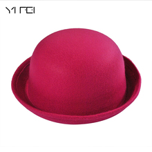 Hot Winter Autumn Cute Ladies Female Formal Wool Solid Color Dicer Billycock Hemming Bowler Hat Clas