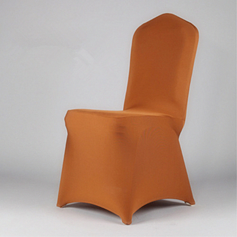6pcs Coffee Chair Cover Spandex dining wedding decoration fabric chair sashes restaurant chair covers and bows China white