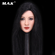 1/6 Scale Female Head Sculpt Model Toys Black Long Hair Head Carving Model For 12