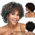 Термостойкие синтетические афро кудрявый вьющиеся короткий Парик для чернокожих Женщин Парики скидка натуральный черный афро-американских парики волос pruik