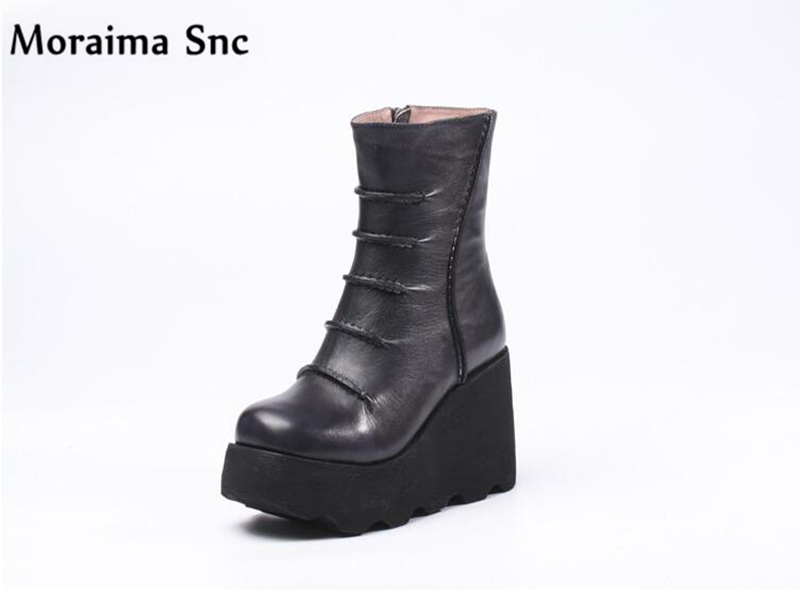 Moraima Snc Winter fashion women Ankle Boots high heel flat with platform side zipper Round toe mid-calf outside Riding boots stylish women s mid calf boots with suede and platform design