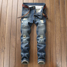 High Street Fashion Men Jeans Blue Color Destroyed Hip Hop Jeans hombre Straight Fit Spliced Ripped Pants Biker Jeans homme
