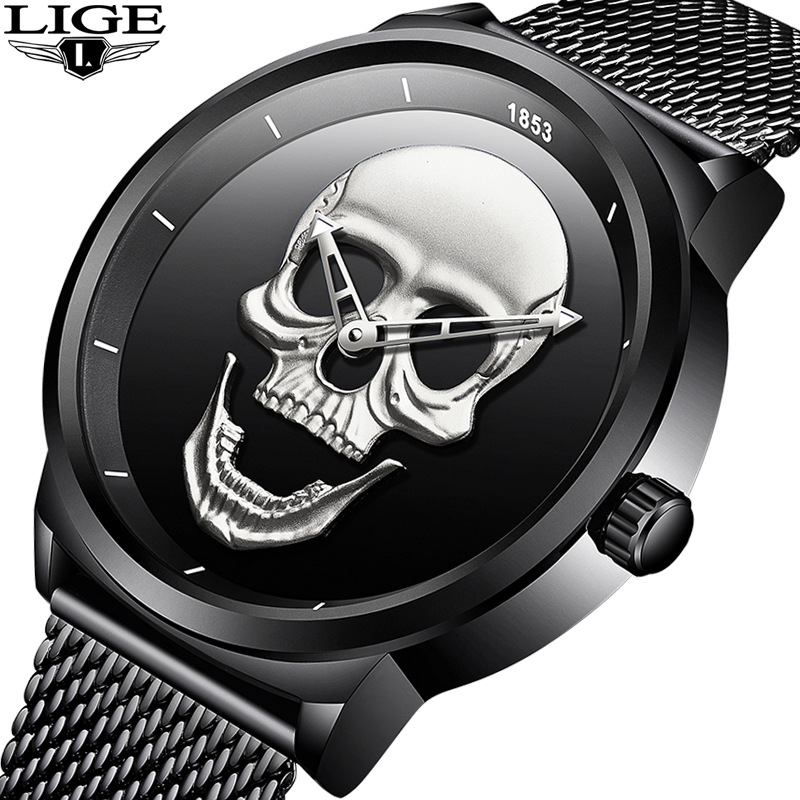 LIGE New Men Watch Cool Bone Luxury Brand Creative Clock Steel Black Male Watch Skull Style Quartz Wristwatch relogio masculino cool skull style ox bone bracelets 2 pack