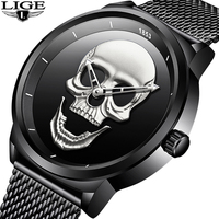 LIGE New Men Watch Cool Bone Luxury Brand Creative Clock Steel Black Male Watch Skull Style