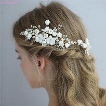 Jonnafe Delicate Wedding Hair Jewelry Porcelain Flower Bridal Hair Comb Pins Handmade Women Prom Headpiece