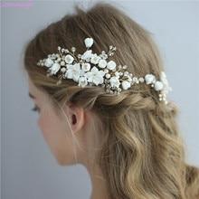 Jonnafe עדין חתונת שיער תכשיטי פורצלן פרח כלה שיער מסרק סיכות בעבודת יד נשים לנשף כיסוי ראש