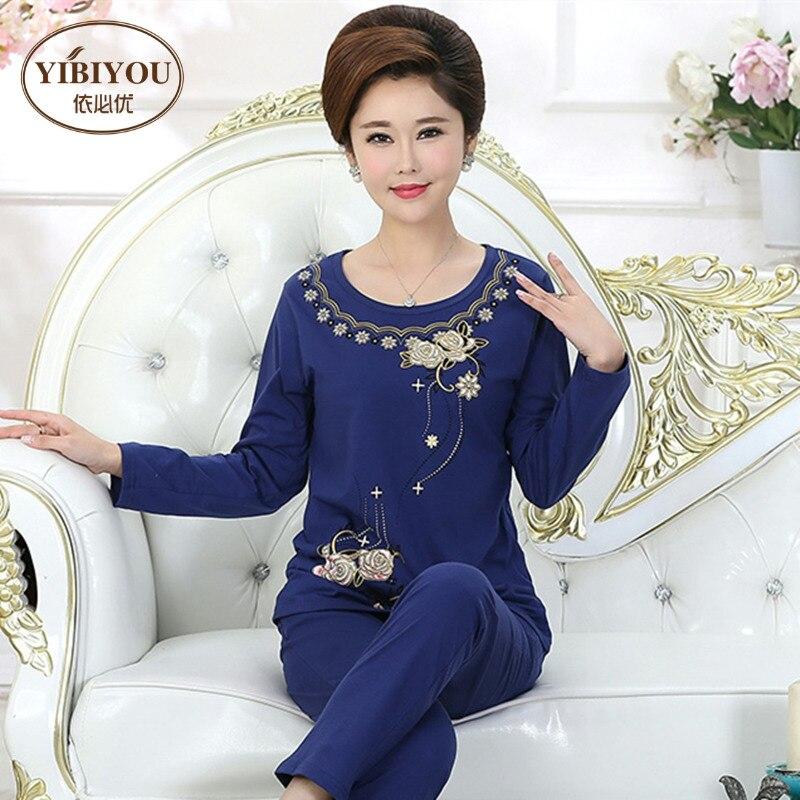 Woman's   pajamas   Autumn Long sleeve Pyjamas trousers Cotton embroidered Sleepwear Women   Pajama     Set   Plus Size 4XL