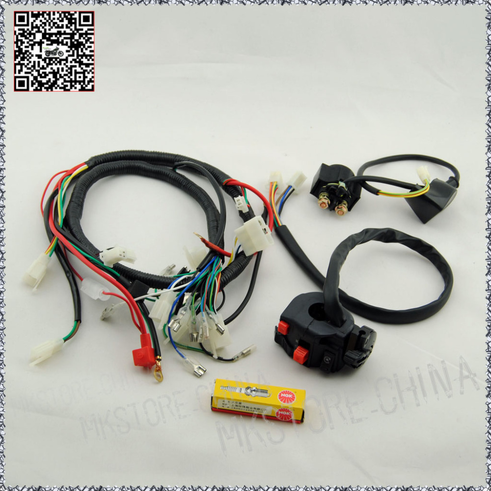 250CC+NGK SPARK PLUG+SWITCH+SOLENOID QUAD WIRING HARNESS Chinese 200 ...