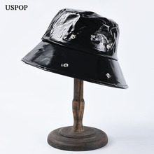 USPOP 2019 New PU bucket hats women men autumn fashion unisex black white couple