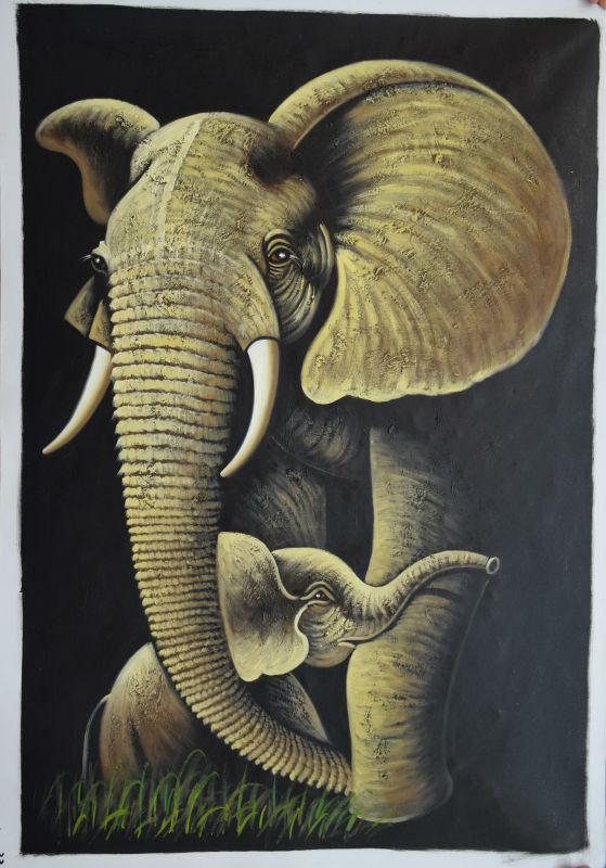 ⊹Hand Painted High Quality Animal Oil Painting Lovely Elephant ...
