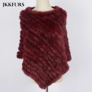 Image 5 - Womens Knitted Poncho Real Rabbit Fur Fashion Style Winter Autumn Warm Fur Shawl Ladies Top Quality Cape S1071S