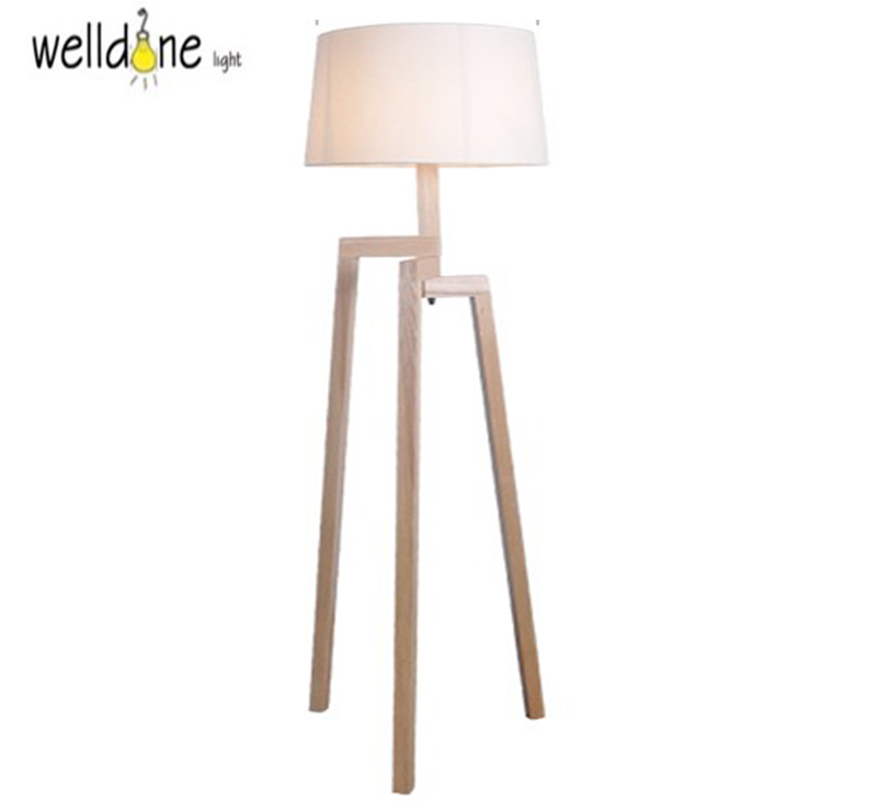 modern minimalist 3 leg wood tripod floor lamps with fabric shade floor light for sitting living. Black Bedroom Furniture Sets. Home Design Ideas