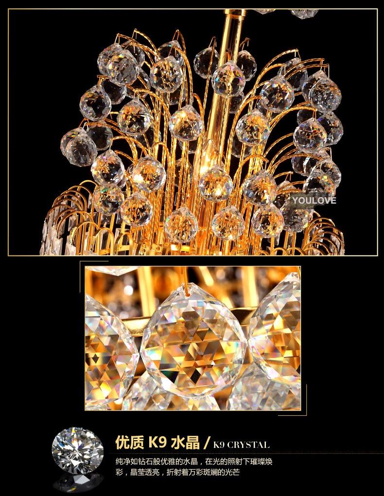 Moderna LED-guld Kristallkronor Ljusarmatur Hem Hotell Stort projekt - Inomhusbelysning - Foto 4
