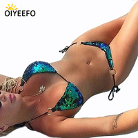 Oiyeefo Big Shiny Sequins Bikini Bright Blue And Green Chameleon Bathing Suits Women Beach Bather Suits