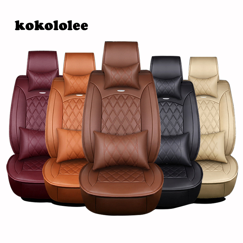 KOKOLOLEE PU Leather Universal Car Seat Covers for Toyota Mazada Nissan Qashqai X-tral Hyundai BMW Audi Ford car seats protector car floor mats covers free shipping 5d for toyota honda for nissan hyundai buick for ford audi benz for bmw car etc styling