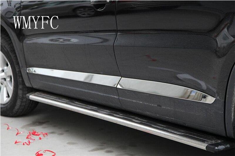 Stainless Steel Side Door Body Molding Trim 4Pcs For Volkswagon VW Tiguan 2010 2011 2012 2013 2014 2015 Matt or Mirror