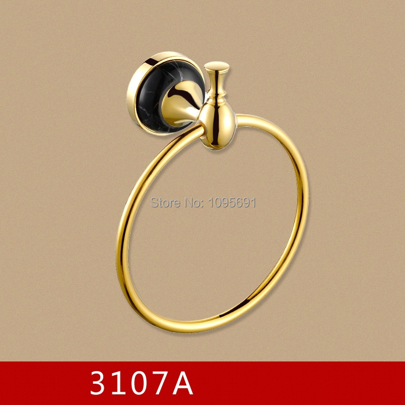 ФОТО Free shipping Artistic Luxury gold plating marble  & Brass Gold Towel Ring,, Towel Bar Towel Holder Bathroom Accessories