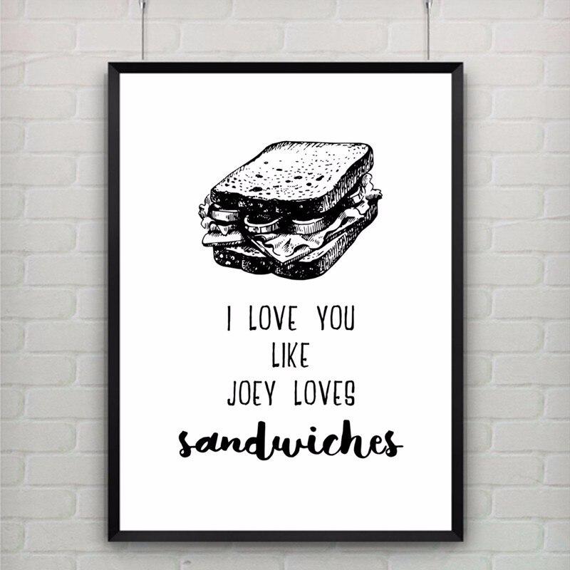 ̿̿̿(•̪ )Lienzo Hot Art cita romántica te amo como Joey ama ...