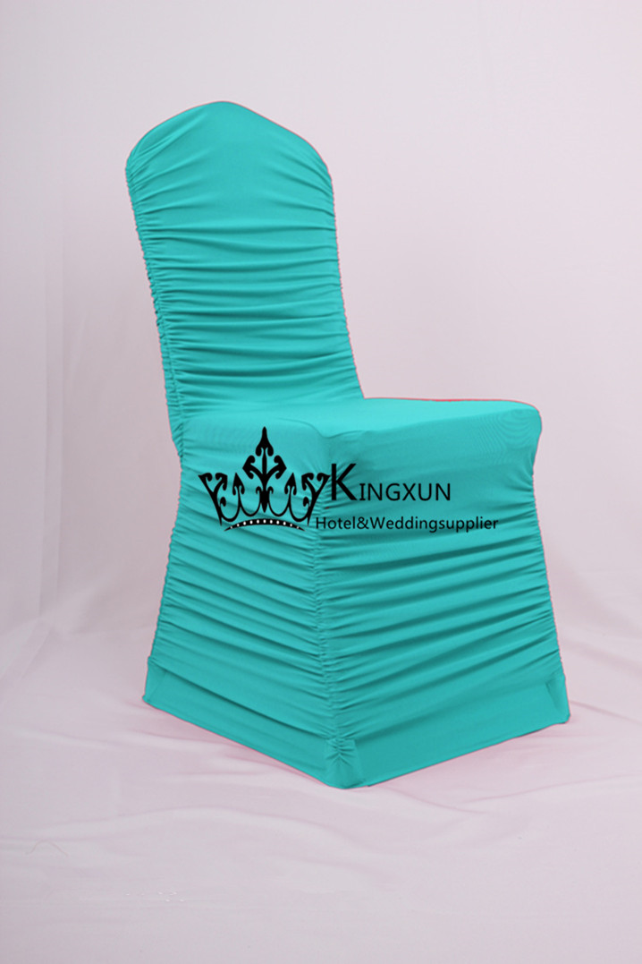 ruched spandex chair cover beach deck chairs for sale turquoise color ruffled lycra wedding