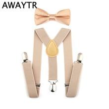 AWAYTR New 16 Colors Children Suspenders Elastic Adjustable Y-Back Braces Clip-on Bowtie Bow Tie Ties Kids For Wedding Party
