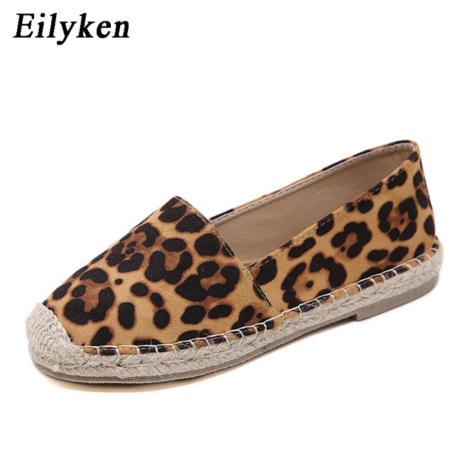 Eilyken/обувь на плоской подошве с леопардовым принтом, женские эспадрильи из пеньки в рыбацком стиле, лоферы, повседневная женская обувь на плоской подошве с круглым носком, Размеры 35-40