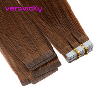 "Veravicky Hair #6 Tape in Human Hair Extensions Brown Remy Hair On Adhesives Tape 16""18""20"" Invisible PU Skin Weft 20Pcs(China)"