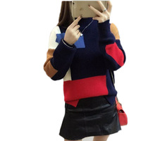 Autumn Large Size Girl Bottoming Knit Sweater New Loose Spell Color Striped Sweater Autumn Women O