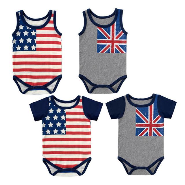 4 Peças Por Atacado 2016 de Verão Do Bebê Teste Padrão Da Bandeira de Manga Curta Sem Mangas Bebés Meninos Meninas Bodysuits Bodysuits Roupa Impresso V20