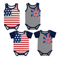 4 Pieces Wholesale 2016 Summer Baby Bodysuits Flag Pattern Short Sleeve Sleeveless Baby Boys Girls Bodysuits Printed Clothes V20