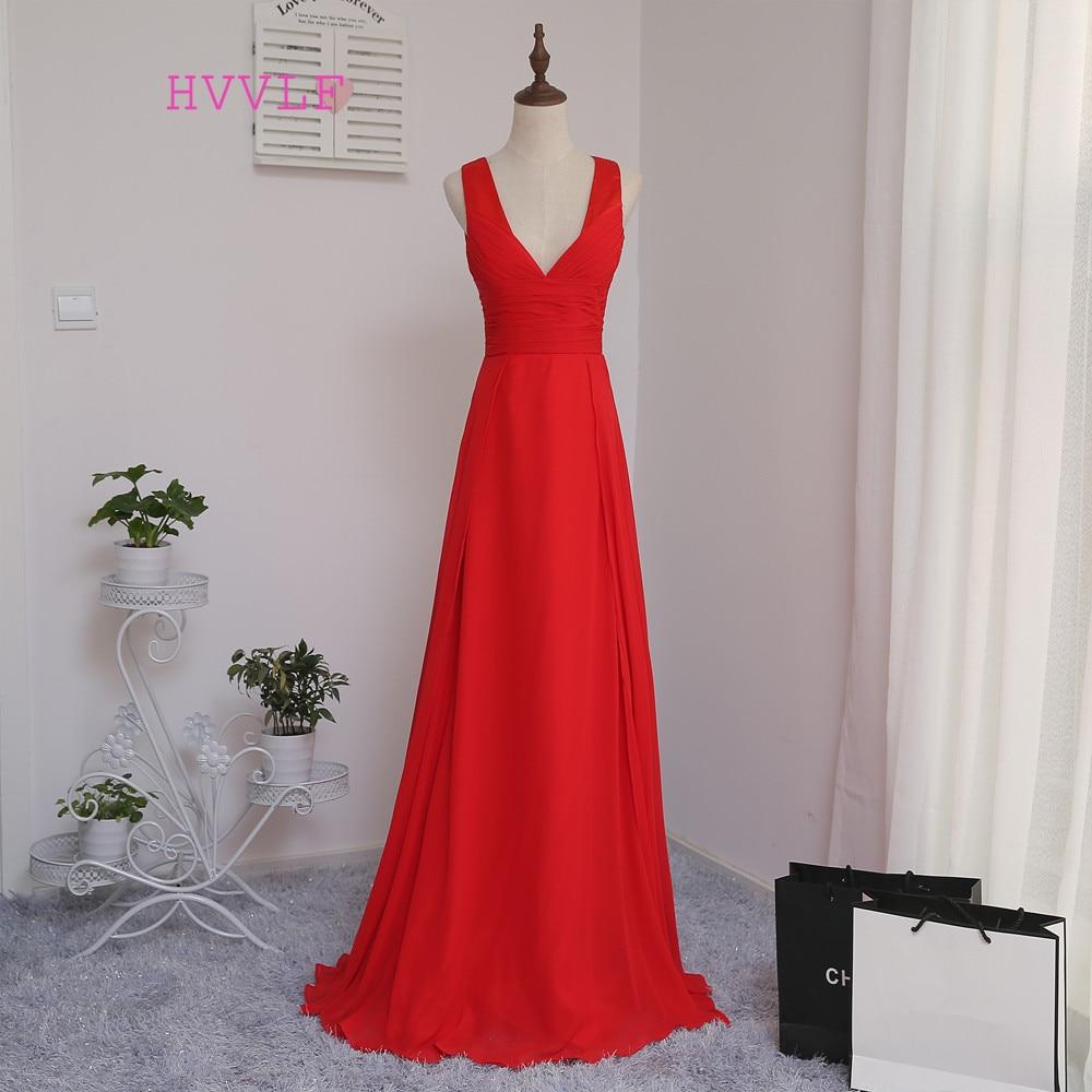 HVVLF 2019 Cheap   Bridesmaid     Dresses   Under 50 A-line Deep V-neck Red Chiffon Backless Wedding Party   Dresses