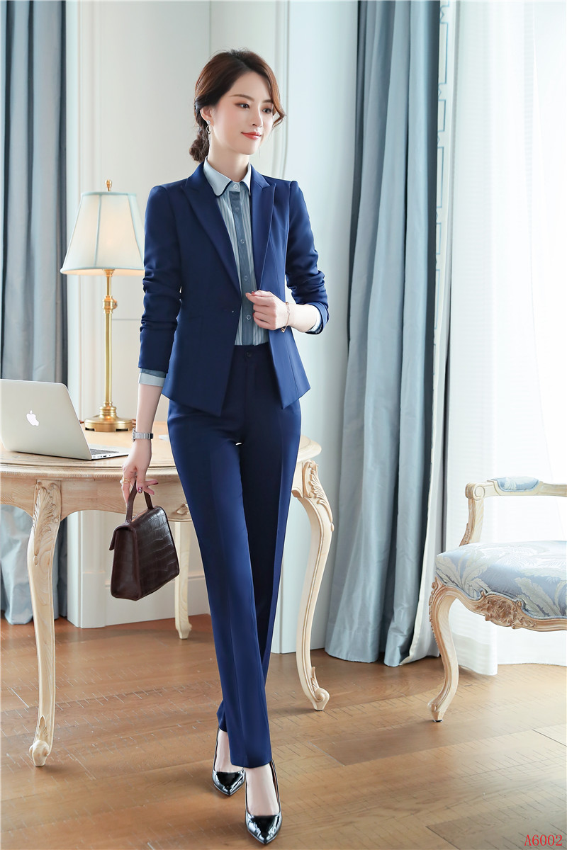 f4806d4e60b2 Blazer Navy 2019 Con Ol Donna Dei Nuovo Set Per Il Uniforme Nero Disegni  Ufficio Pantaloni Usura Vestiti E blu Eleganti Stili Di Del Giacca Affari  ...