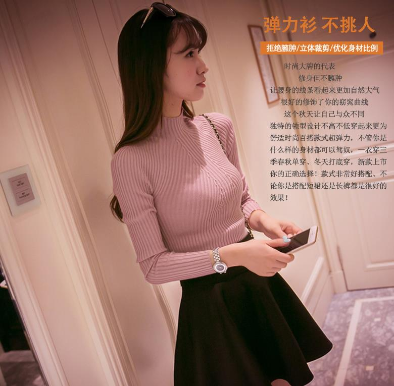 New 17 Spring Fashion Women sweater high elastic Solid Turtleneck sweater women slim sexy tight Bottoming Knitted Pullovers 14