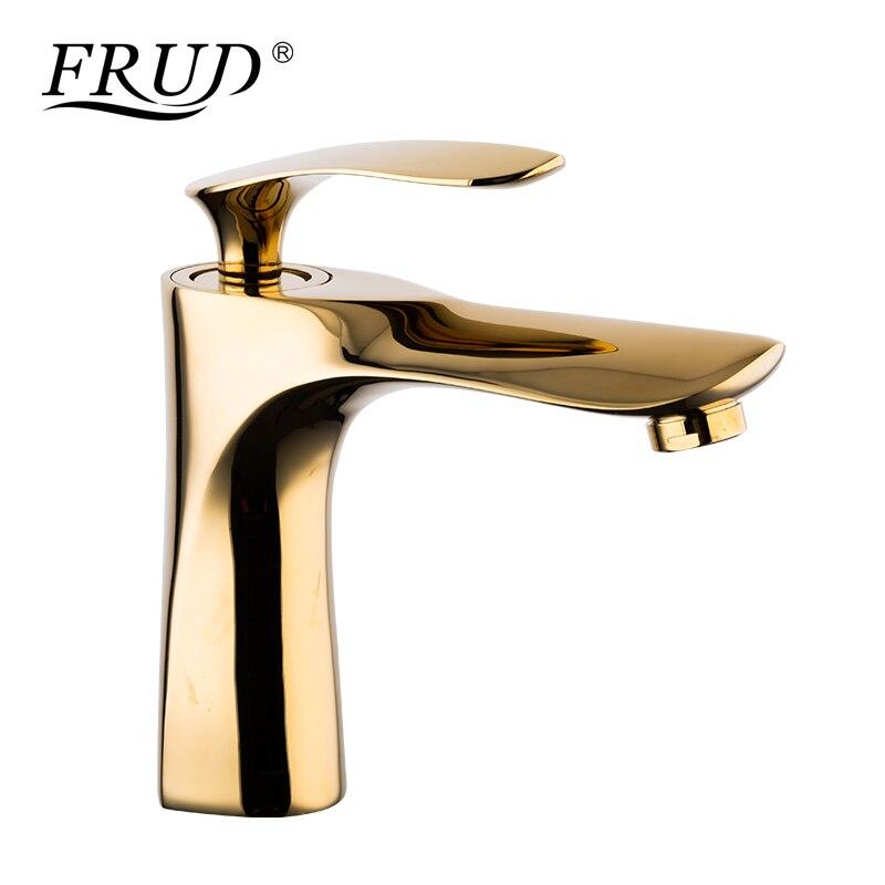 FRUD mitigeur lavabo mitigeur salle de bain vasque robinet luxe doré mitigeur salle de bain eau chaude et froide évier robinets Y10058