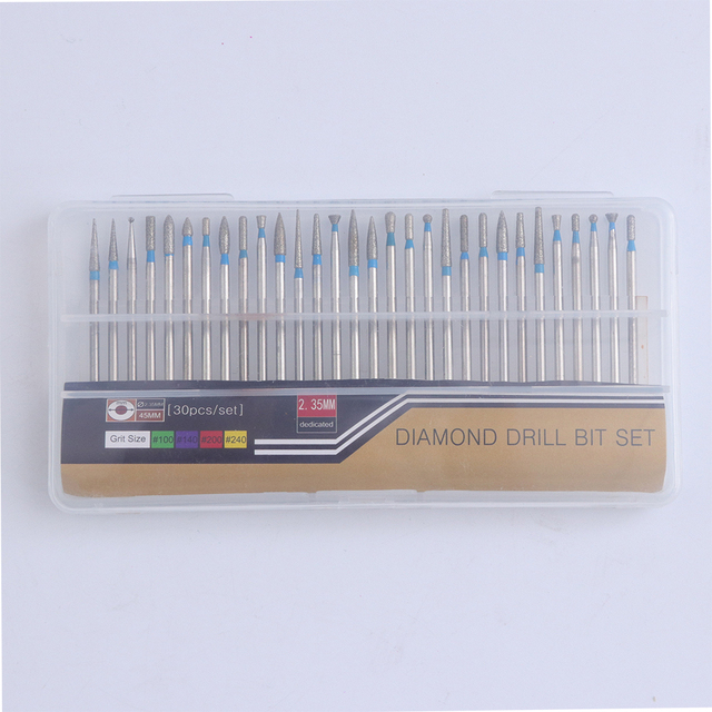 30pcs/lot Diamond Milling Cutter for Manicure Cuticle Files Nail Drill Bit Burr Rotary Electric Machine Accessories Tools BEA02