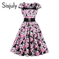 Sisjuly Women 2017 Vintage Dresses Summer Floral Print Button Belt Mid Calf A Line Casual Elegant