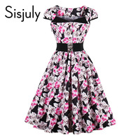 Sisjuly women 2017 vintage dresses summer floral print button belt mid-calf a-line casual elegant female vintage dresses new