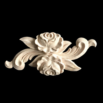 10PCS Woodcarving European-style Applique Solid Wood Furniture Decorative Accessories Door Heart Flower Carved Long Pieces