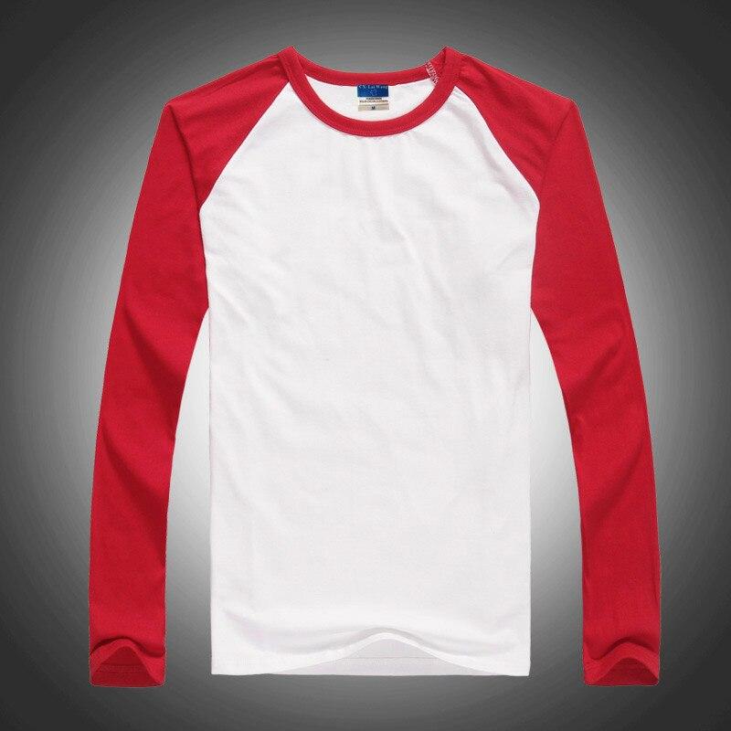 Solide couleur blanc coton à manches longues frapper col rond T-shirt à manches longues t-shirt G11