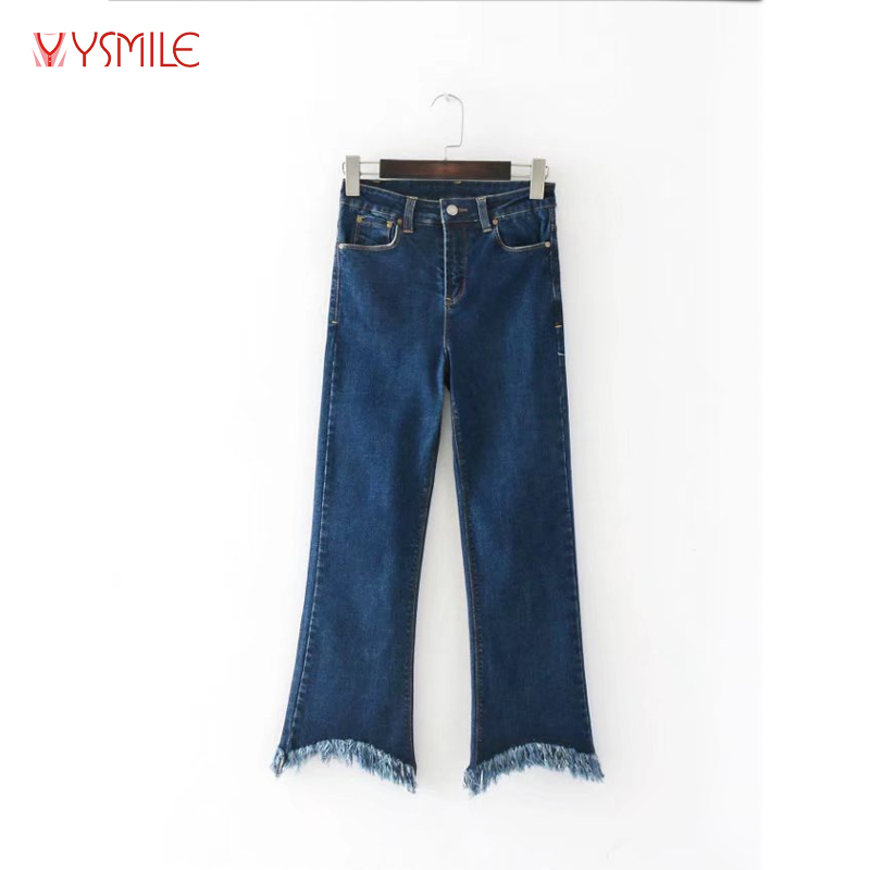 YSMILE Y 2017 European Style Women Autumn Ankle-Length Pants Mid Waist Fringe Tassels Casual Blue Flare Jeans YM056 одежда из меха blue stone in autumn 056 2015